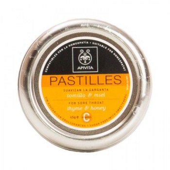APIVITA PASTILLES FOR SORE THROAT WITH THYME AND HONEY 45G