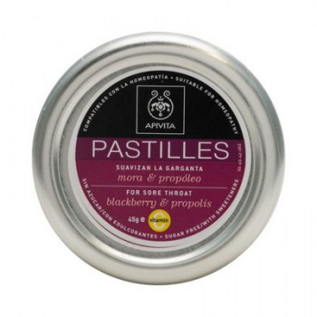 APIVITA PASTILLES FOR SORE THROAT WITH BLACKBERRY AND PROPOLIS 45G