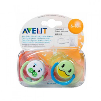 AVENT CLASSIC SILICONE SOOTHER 0-6 MONTHS 2 UNITS