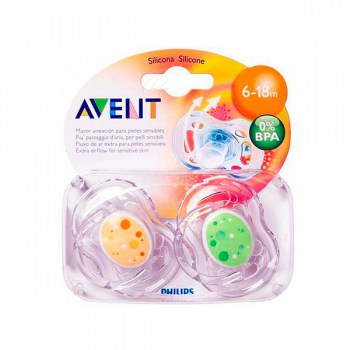 AVENT FREEFLOW SILICONE SOOTHER 6-18 MONTHS 2 UNITS